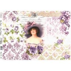 Rýžový papír A4 Vintage dáma, fialové růže