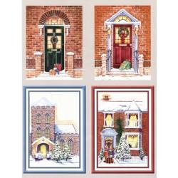 Papírové výřezy 3D - Vchodové dveře v zimě (2 listy)