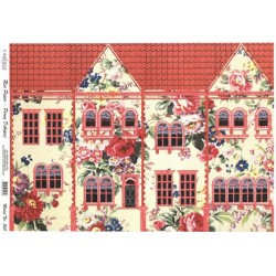 Rýžový papír A4 Dům s růžičkami