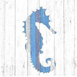 Mořský koník na bílém dřevě 33x33