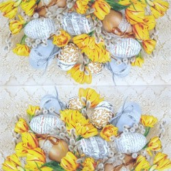 Kraslice a žluté tulipány 33x33