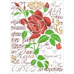 Šablona - Růže a noty (A4)