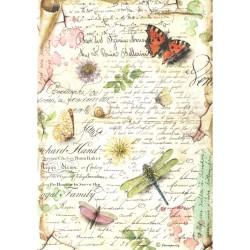 Papír rýžový A4 Motýli, vážka, písmo