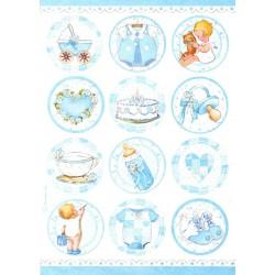 Papír rýžový A4 Dětské motivy v kruzích, modré