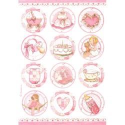 Papír rýžový A4 Dětské motivy v kruzích, růžové