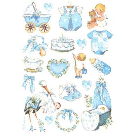 Papír rýžový A4 Dětské motivy s čápem, modré