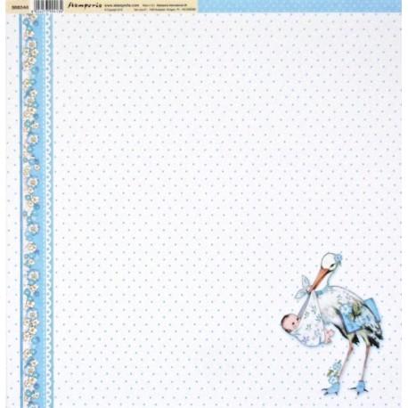 Baby Boy, čáp 30,5x30,5 scrapbook
