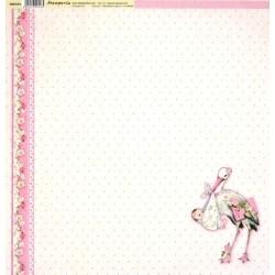 Baby Girl, čáp 30,5x30,5 scrapbook