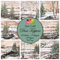 Sada kartiček 9x9cm - Zimní obrázky u jezera II (Dixi Craft)