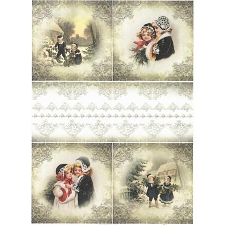 Papír rýžový A4 Zimní obrázky s dětmi, bordura I.