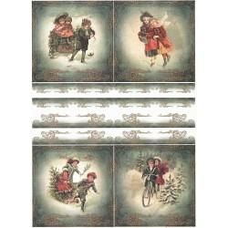 Papír rýžový A4 Zimní obrázky s dětmi, bordura III