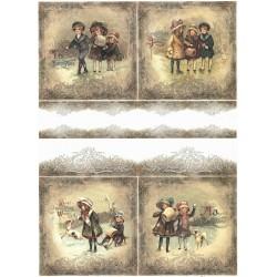 Papír rýžový A4 Zimní obrázky s dětmi, bordura IV.