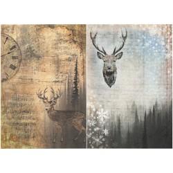 Papír rýžový A4 Dva obrázky s jelenem