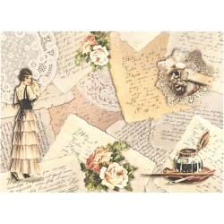 Papír rýžový A4 Dívka s vějířem, staré dopisy
