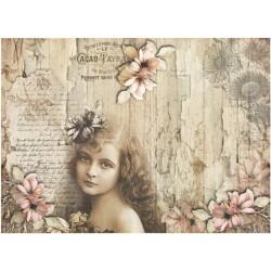 Papír rýžový A4 Dívka s květem ve vlasech, staré dřevo