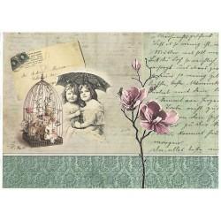 Papír rýžový A4 Dívky pod deštníkem, klícka
