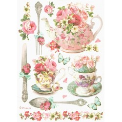 Papír rýžový A4 Čajový servis s růžemi