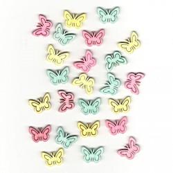 Dřev.dekorace barevné - motýli typ 3, 2cm, 24ks