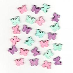 Dřev.dekorace barevné - motýli typ 5, 2cm, 24ks