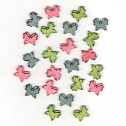 Dřev.dekorace barevné - motýli typ 4, 2cm, 24ks
