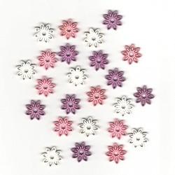 Dřev.dekorace barevné - květy typ 2, 2cm, 24ks