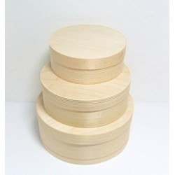 Set kulatých krabiček z dýhy 3v1