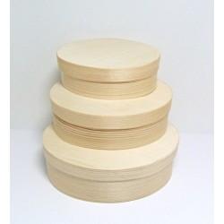 Set oválných krabiček z dýhy 3v1