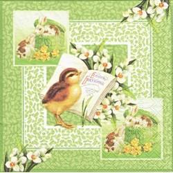 Velikonoční s kuřátkem, zelený 33x33