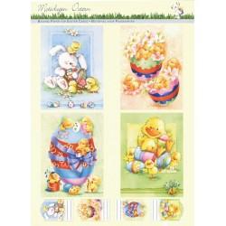 Papírové výřezy 3D - Velikonoční kraslice, kuřátka, zajíc, kačenka (2 listy)