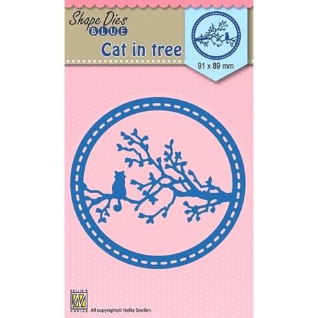 Vyřezávací šablona - Kočka na stromě (Nellie´s Choice)