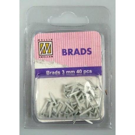 Brads 3mm, 40ks - whitte (Nellie´s Choice)