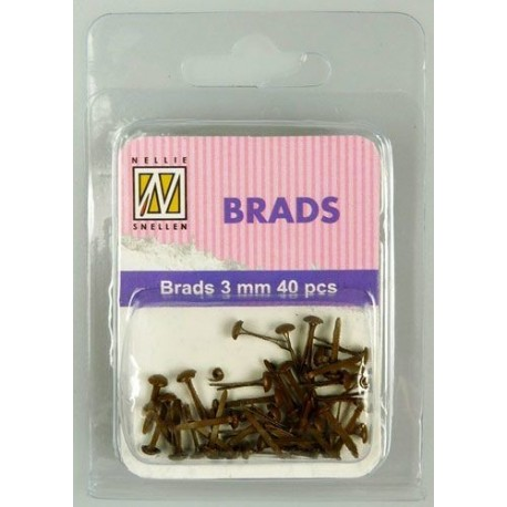 Brads 3mm, 40ks - brown (Nellie´s Choice)
