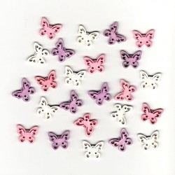 Dřev.dekorace barevné - motýli typ 6, 2cm, 24ks