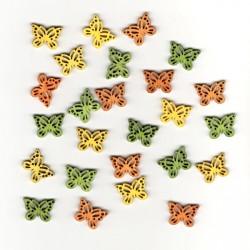 Dřev.dekorace barevné - motýli typ 7, 2cm, 24ks