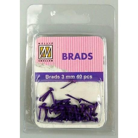 Brads 3mm, 40ks - purple (Nellie´s Choice)