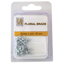Brads Glitter 3mm, 40ks - white (Nellie´s Choice)
