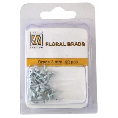 Brads Glitter 3mm, 40ks - white (Nellie´s Choice)