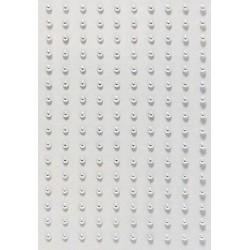 Kamínky perličky 2mm, samolepící stříbrné