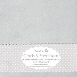 Set 8ks přáníček s obálkami, 15x15, stříbrná metalická