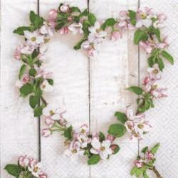 Srdce z jabloňových květů 33x33