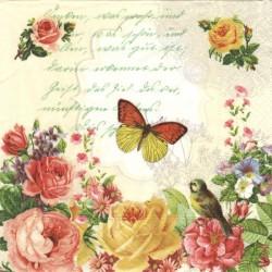 Písmo, motýl, květy 33x33