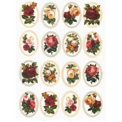 Papír rýžový A4 Vintage medailony, barevné růže