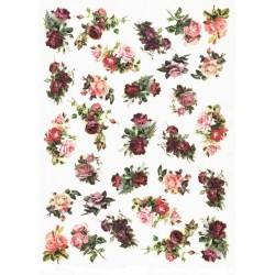 Papír rýžový A4 Malé kytice růží