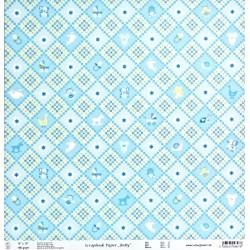 Baby, Kosočtverce modrý 30,5x30,5 scrap. papír