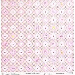Baby, Kosočtverce růžový 30,5x30,5 scrap.papír