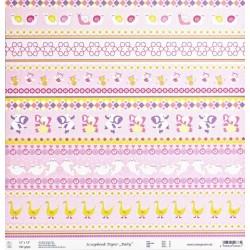 Baby, Bordury růžový 30,5x30,5 scrap.papír