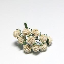 Papírová růžička 1cm, slonová kost, 10ks