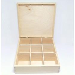 Krabička na čaj 9 komor čtvercová