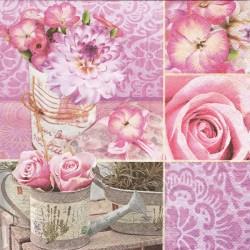 Koláž růžových květů 33x33
