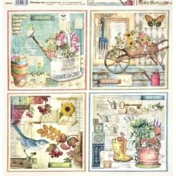 Zahrada, 4 obrázky 30,5x30,5 scrapbook